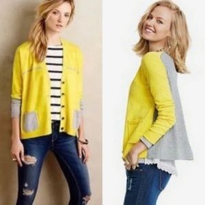 CAbi Yellow Belle Button Up Sweater Cardigan